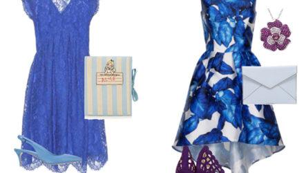 С чем надеть синее платье — туфли, колготки, бижутерия