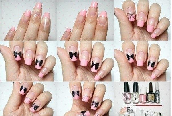 Бантики на ногтях пошагово и дизайн акрилом Смокинг 8