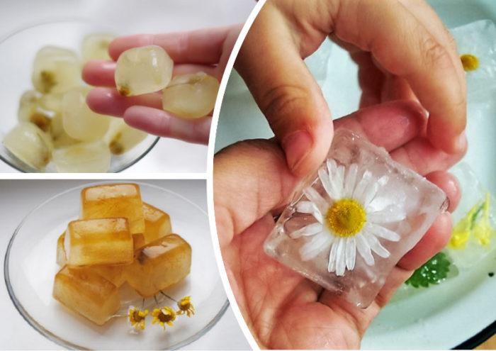 Лед из ромашки для лица для сухой коже